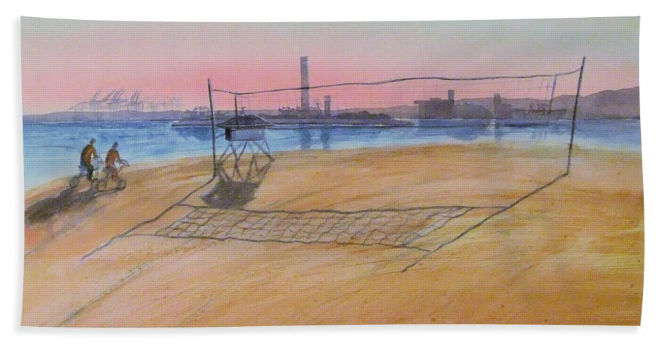 Watercolor Bath Sheet featuring the painting Long Beach Icons by Debbie Lewis