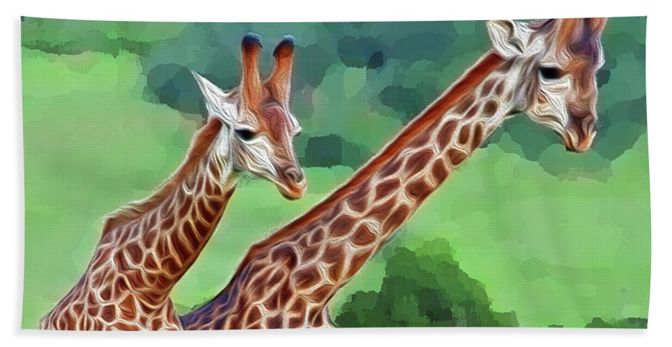 Animals Hand Towel featuring the digital art Long Necked Giraffes 2 by Bruce Iorio