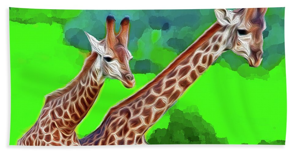 Animals Hand Towel featuring the digital art Long Necked Giraffes 3 by Bruce Iorio