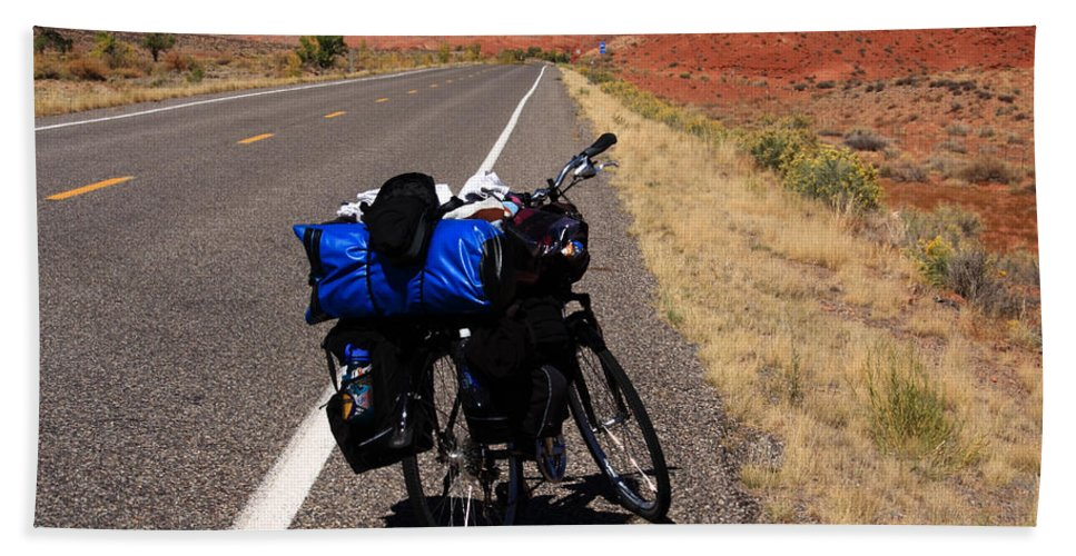 Bicycles Hand Towel featuring the photograph Long Road Ahead by Aidan Moran
