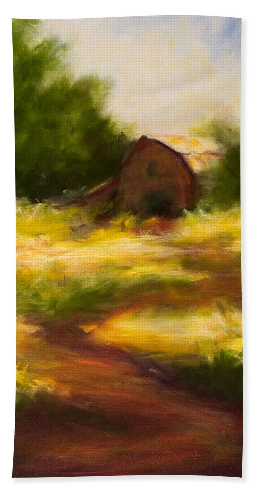 Landscape Bath Towel featuring the painting Long Road Home by Shannon Grissom