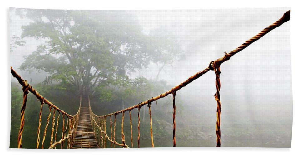 Jungle Journey Bridge Bath Towel featuring the photograph Long Rope Bridge by Skip Nall