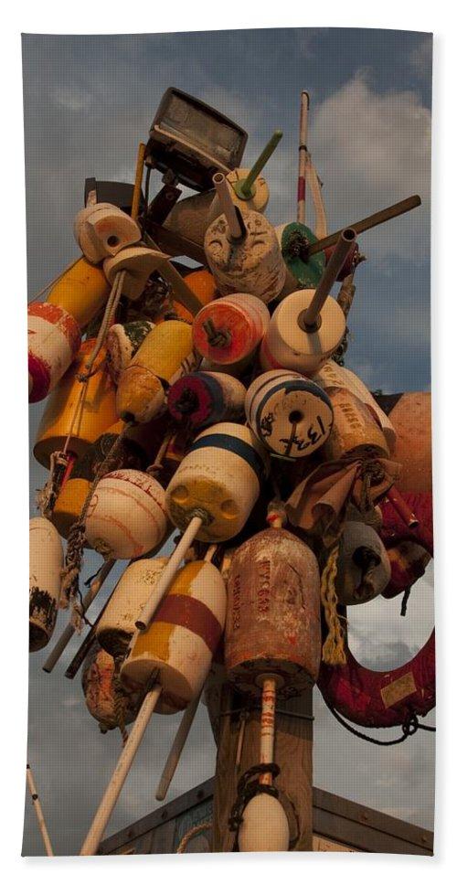 Rhode Island Hand Towel featuring the photograph Long Wharf Buoys by Steven Natanson