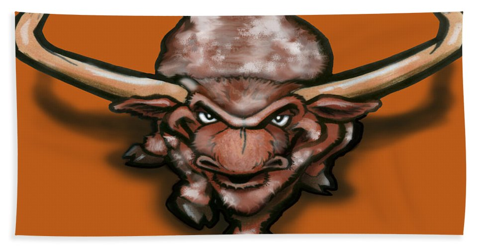Longhorn Hand Towel featuring the greeting card Longhorn by Kevin Middleton