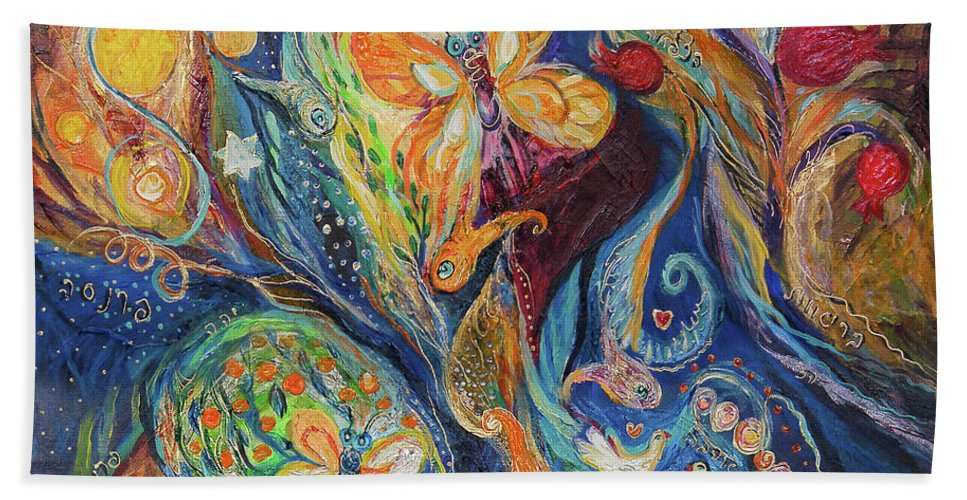 Original Bath Sheet featuring the painting Longing For Chagall by Elena Kotliarker