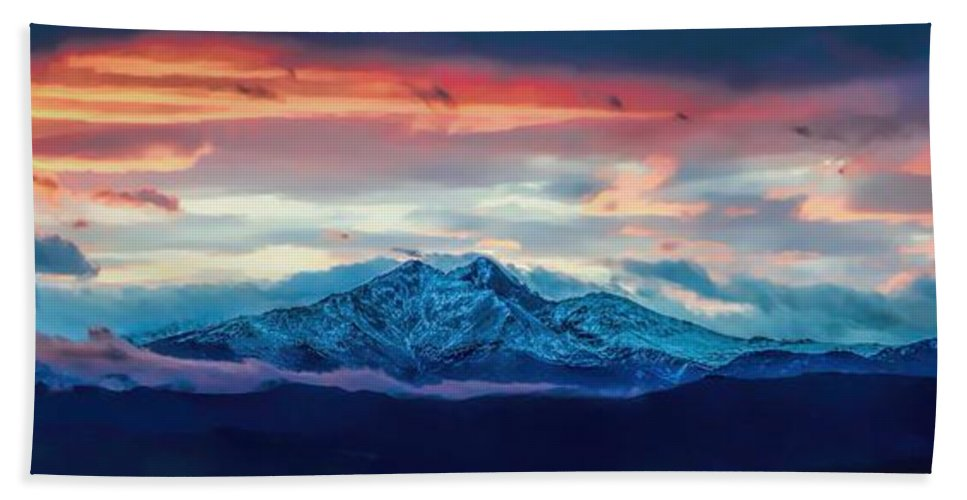 Longs Peak Hand Towel featuring the photograph Longs Peak At Sunset by Jon Burch Photography