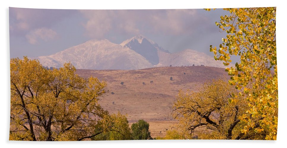Twin Peaks Hand Towel featuring the photograph Longs Peak Diamond Autumn Shadow by James BO Insogna