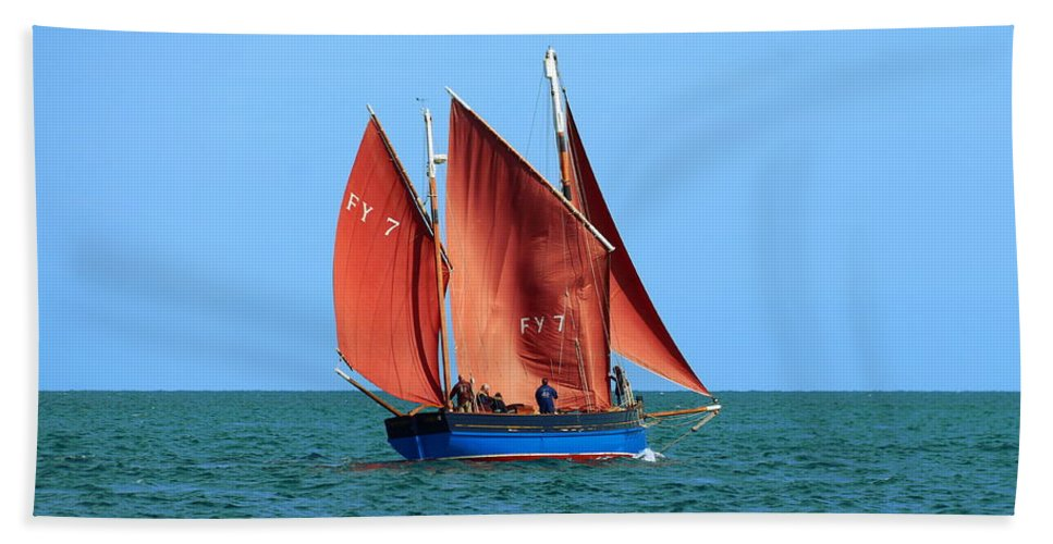 Looe Lugger Hand Towel featuring the photograph Looe Lugger 'our Daddy' by Tom Wade-West