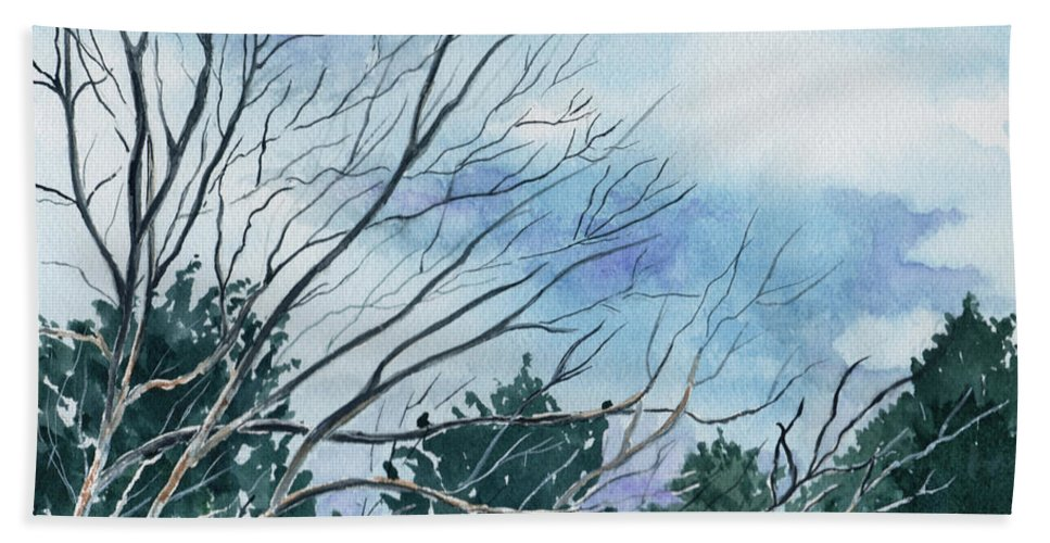 Watercolor Landscape Trees Sky Clouds Blue Bath Towel featuring the painting Look To The Sky by Brenda Owen