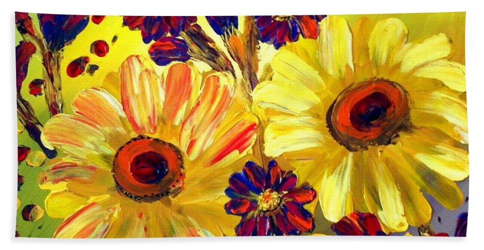 Flowers Bath Sheet featuring the painting Looking At Sun by Luiza Vizoli