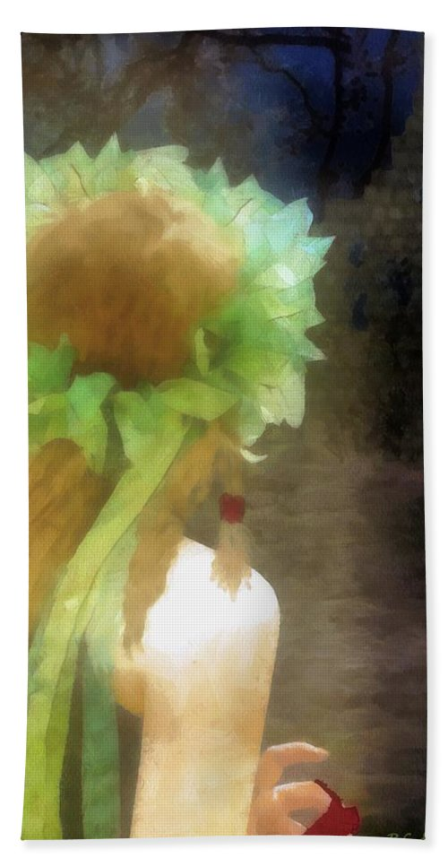 Fantasy Bath Sheet featuring the painting Looking Back - Long Lost Love by RC DeWinter