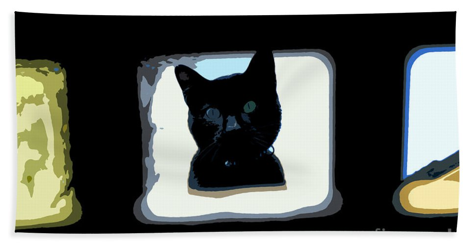 Black Cat Hand Towel featuring the painting Looking by David Lee Thompson