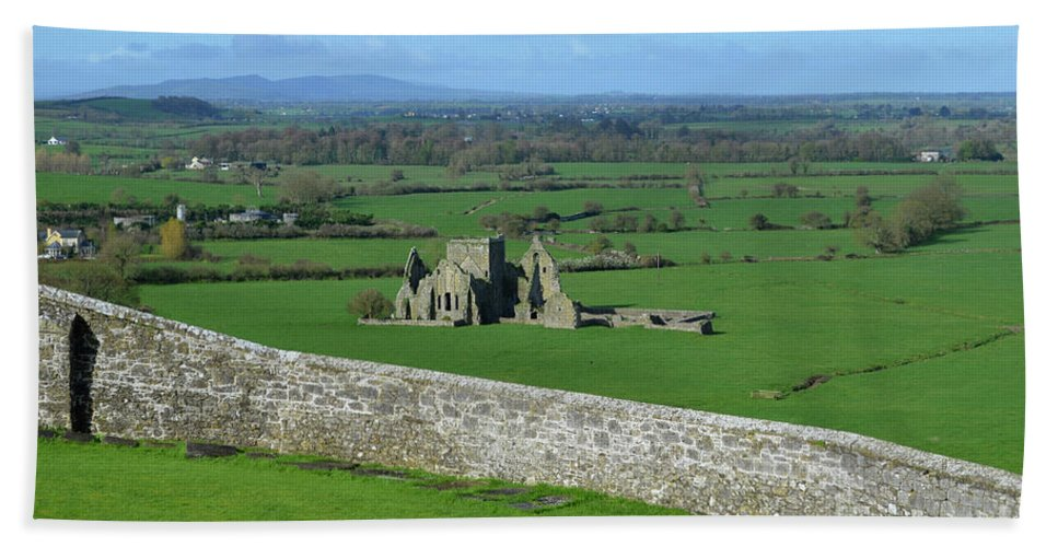 Hore Abbey Hand Towel featuring the photograph Looking Down At The Ruins Of Hore Abbey by DejaVu Designs