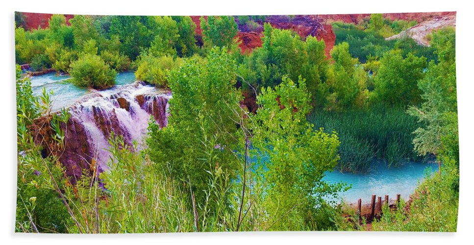 The Grand Canyon Bath Sheet featuring the photograph Looking Down On Navajo Falls And Havasu Creek by Gio