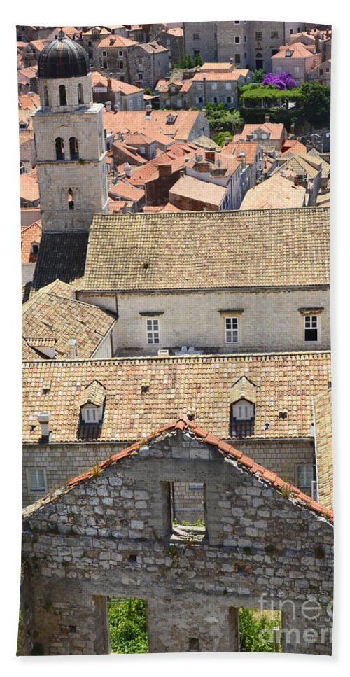 Dubrovnik Bath Sheet featuring the photograph Looking Down On Old Dubrovnik by Elaine Berger