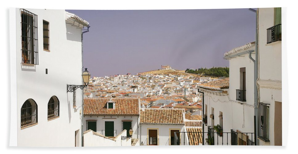 Antequera Bath Towel featuring the photograph Looking Down Over Antequera From Near The Church Of Santa Maria La Mayor by Mal Bray