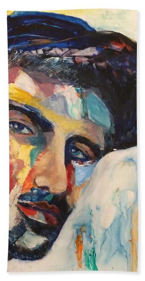 Male Portrait Bath Sheet featuring the painting Eyes by Denise Goldstein