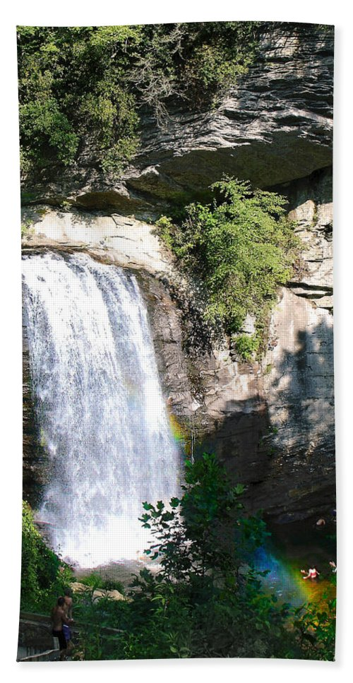 Landscape Bath Towel featuring the photograph Looking Glass Falls Nc by Steve Karol