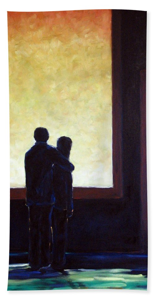 Pranke Hand Towel featuring the painting Looking In Looking Out by Richard T Pranke