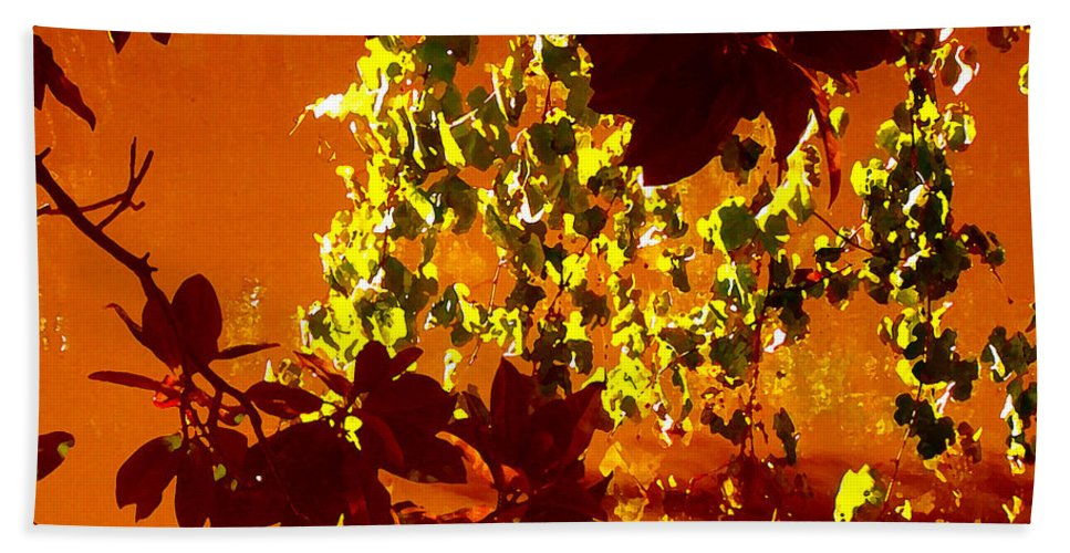 Landscapes Hand Towel featuring the painting Looking Through Leaves Into Pond by Amy Vangsgard