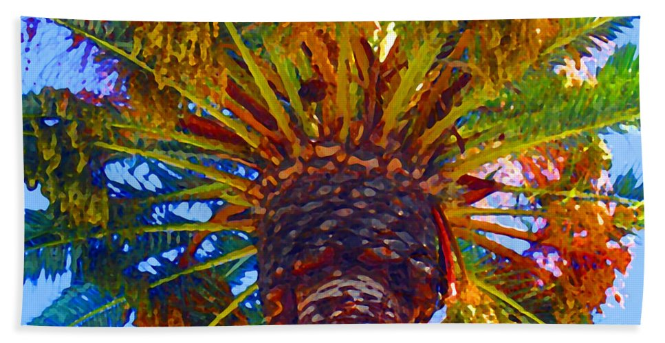 Garden Bath Sheet featuring the painting Looking Up At Palm Tree by Amy Vangsgard