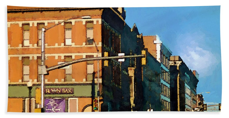 Buildings Bath Towel featuring the painting Looking Up Main Street by RC deWinter