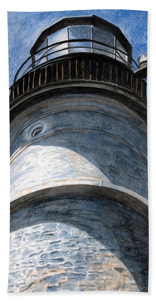 Lighthouse Bath Towel featuring the painting Looking Up Portland Head Light by Dominic White