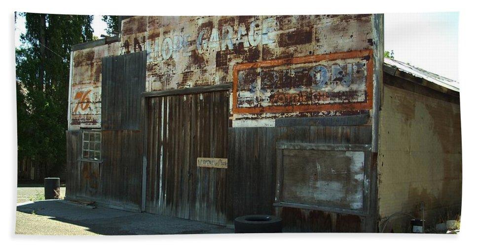 Shop Bath Sheet featuring the photograph Lope Garage by Sara Stevenson