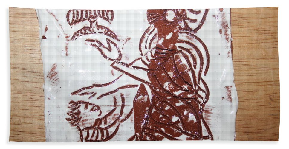 Mamamama Africa Twojesus Bath Sheet featuring the ceramic art Lord Bless Me 13 - Tile by Gloria Ssali