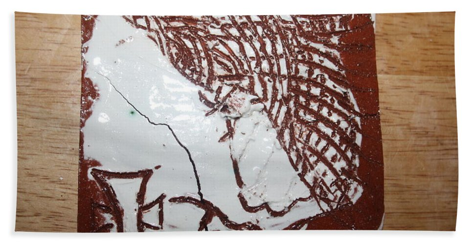 Mamamama Africa Twojesus Bath Sheet featuring the ceramic art Lord Bless Me 7 - Tile by Gloria Ssali