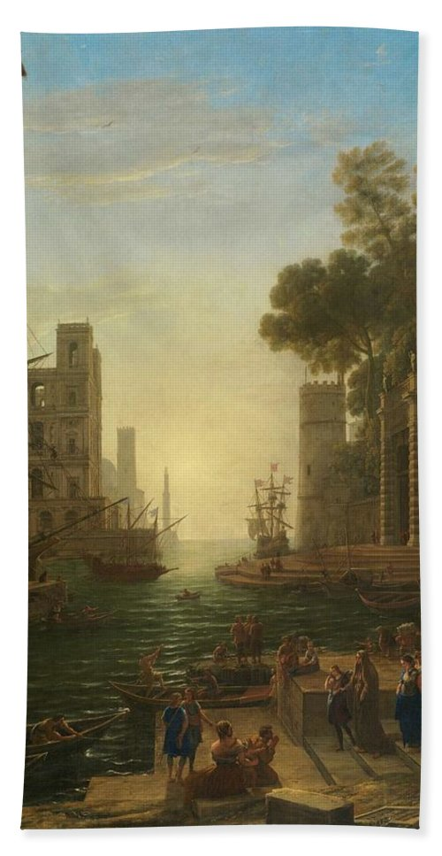 Nature Hand Towel featuring the painting Lorena, Claudio De Chamagne, 1600 - Roma, 1682 The Embarkation Of Saint Paula Ca. 1639. by LORENA CLAUDIO DE Chamagne