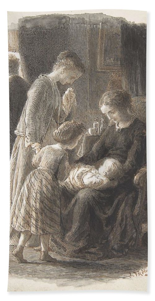 Girl Hand Towel featuring the painting Lorenz Frolich Danish, Copenhagen 1820-1908 Hellerup, The Young Family by Artistic Rifki