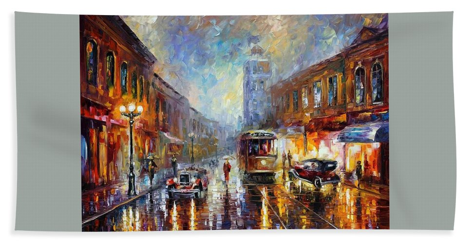 Afremov Hand Towel featuring the painting Los Angeles 1920 by Leonid Afremov