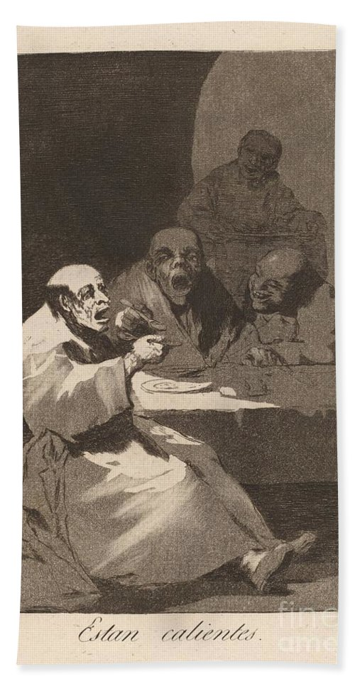 Hand Towel featuring the drawing Los Caprichos: Estan Calientes by Francisco De Goya
