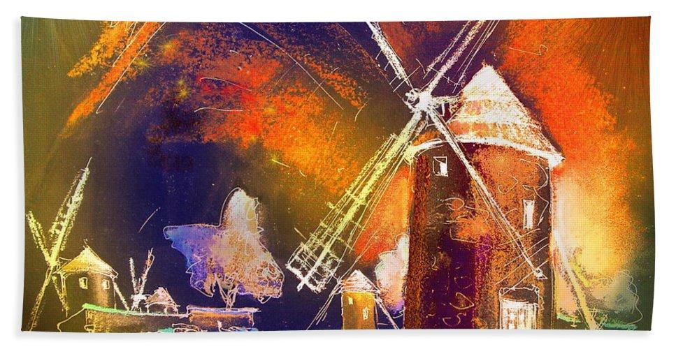 Bath Towel featuring the painting Los Molinos Del Quijote 01 by Miki De Goodaboom