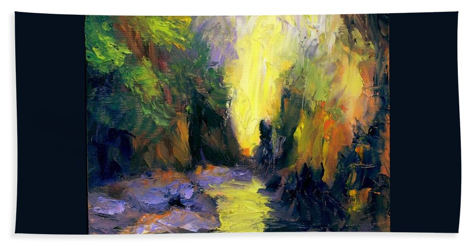 Landscape Bath Towel featuring the painting Lost Creek by Gail Kirtz