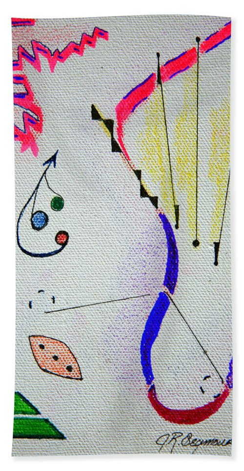 Abstract Hand Towel featuring the mixed media Lost Directions by J R Seymour