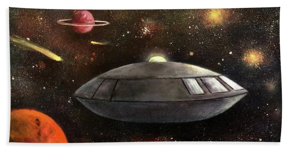 Space Hand Towel featuring the painting Lost In Space by Randy Burns
