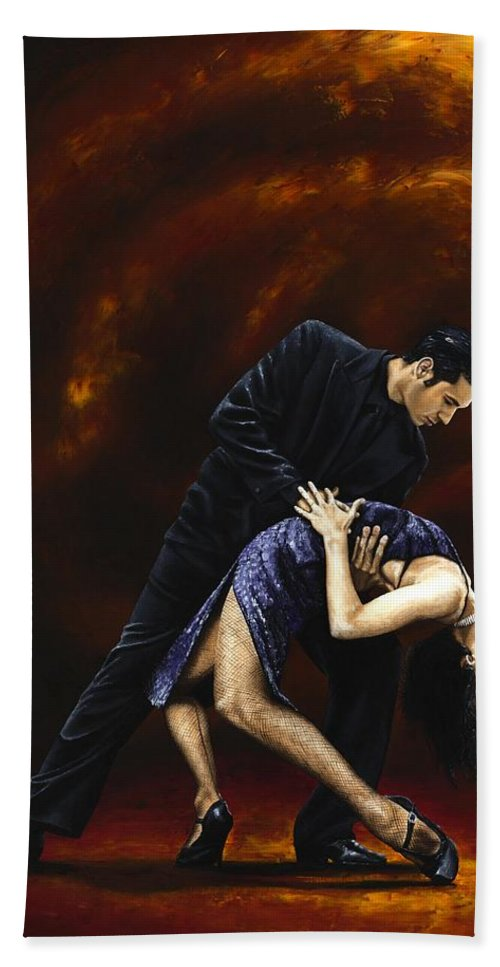 Tango Hand Towel featuring the painting Lost In Tango by Richard Young