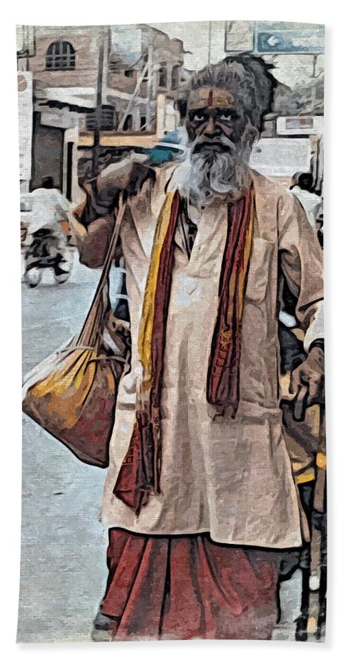 Sadhu Hand Towel featuring the digital art Lost In The City by Bliss Of Art
