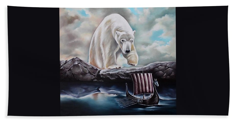 Wild Bath Sheet featuring the painting Lost In The World Of Giants by Rebecca Tecla