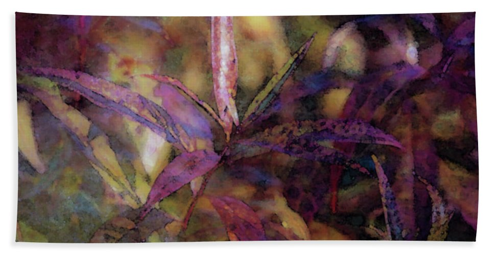 Lost Hand Towel featuring the photograph Lost Leaves Decorated In Purple 6003 Ldp_2 by Steven Ward