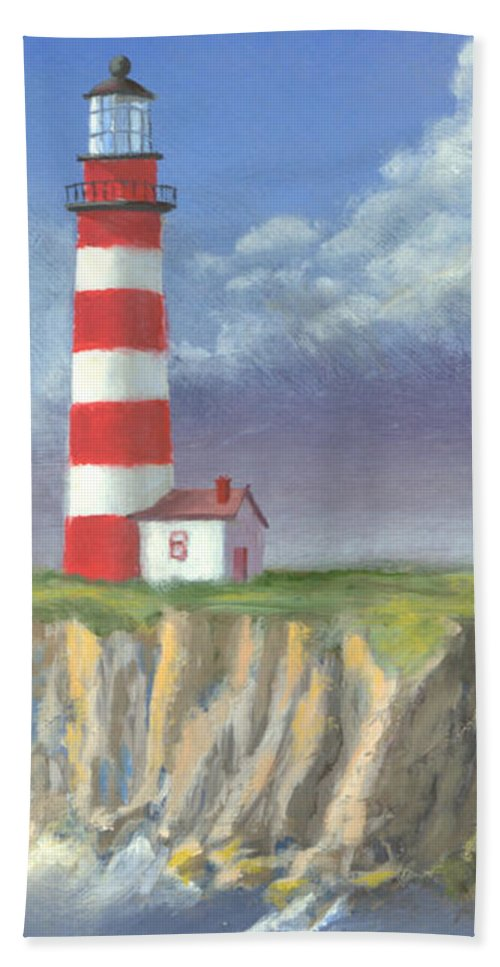 Light Hand Towel featuring the painting Lost Point Light by Jerry McElroy