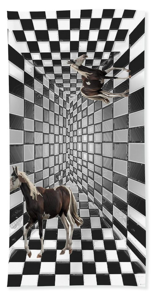 Horse Horses Lost Soul Maze Animal Black And White Paint Digital Artist Regina Sk Bath Sheet featuring the digital art Lost Souls by Andrea Lawrence