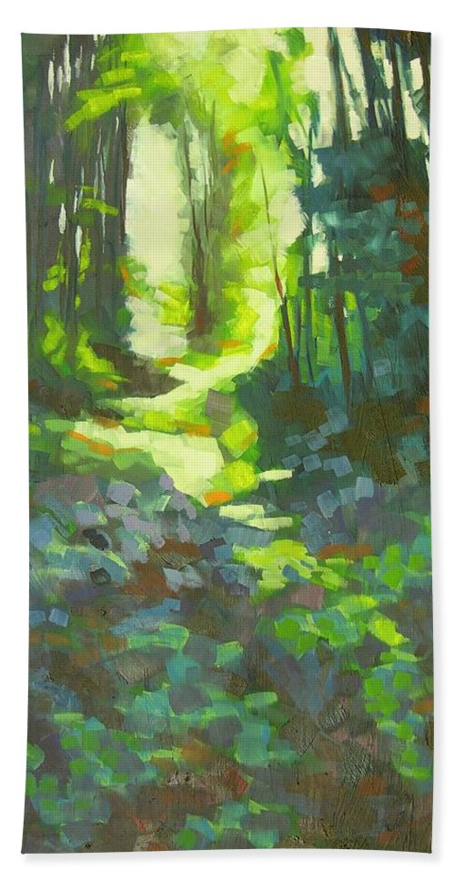 Landscape Bath Towel featuring the painting Lothlorian Wood by Mary McInnis
