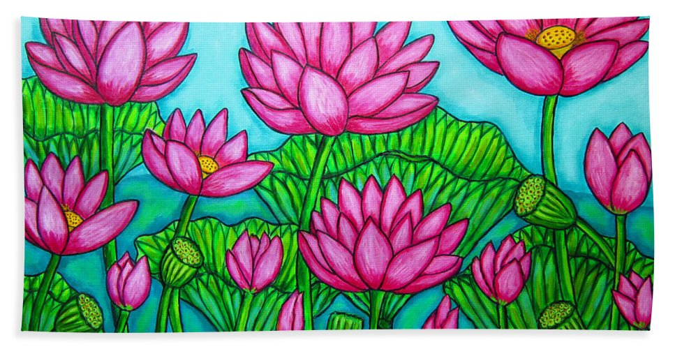 Lotus Bath Towel featuring the painting Lotus Bliss II by Lisa Lorenz