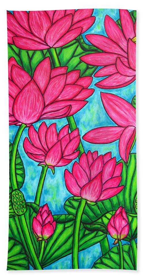 Bath Sheet featuring the painting Lotus Bliss by Lisa Lorenz