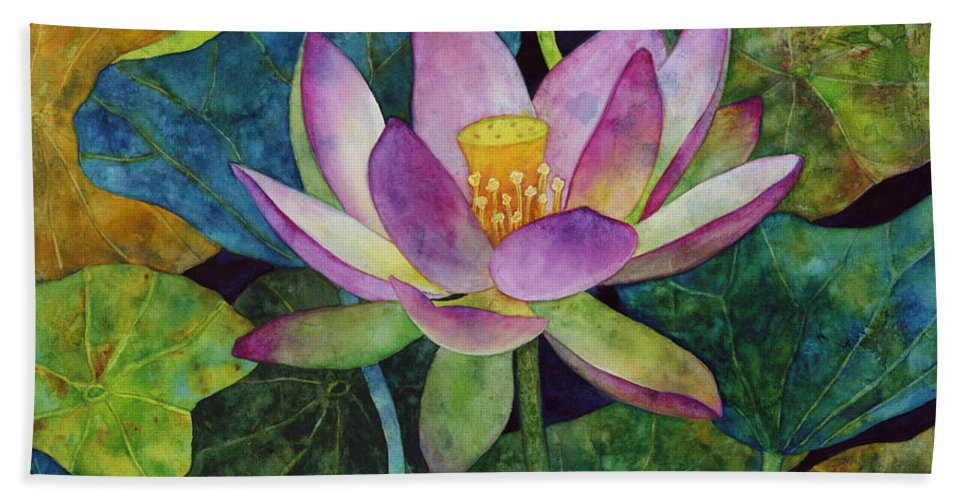 Watercolor Bath Towel featuring the painting Lotus Bloom by Hailey E Herrera