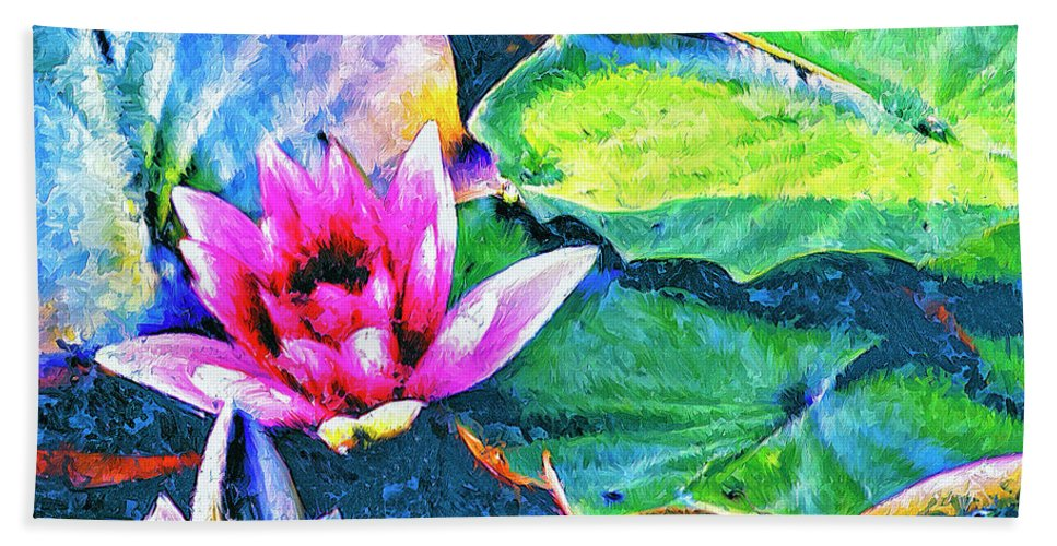 Lotus Blossom Hand Towel featuring the painting Lotus Blossom by Dominic Piperata