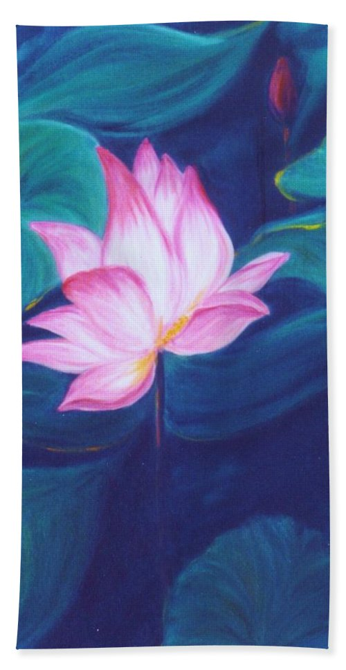 Floral Hand Towel featuring the painting Lotus by Dina Holland